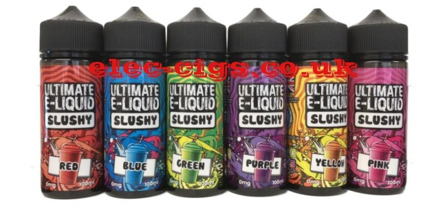 Image shows all six flavours available in the Ultimate E-Liquids Slushy Range