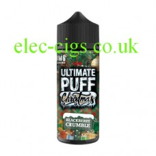 Image shows a bottle of Blackberry Crumble 100 ML E-Liquid from the Christmas Range by Ultimate Puff