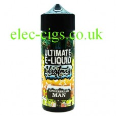 image shows a large bottle of Gingerbread Man 100 ML E-Liquid from the Christmas Range by Ultimate Puff