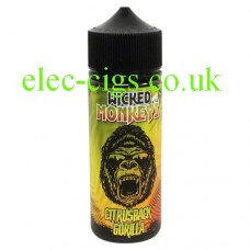 image shows a bottle with a monkey face on the label containing Citrusback Gorilla 100 ML E-Liquid by Wicked Monkeys