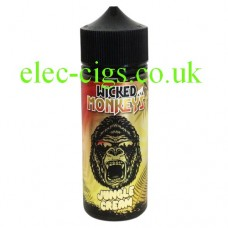 image shows a bottle with a monkey face on the label containing Jungle Cream 100 ML E-Liquid by Wicked Monkeys