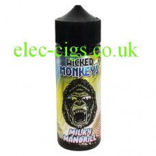 image shows a bottle with a monkey face on the label containing Milky Mandrill 100 ML E-Liquid by Wicked Monkeys