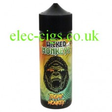 image is of a bottle with a monkey face on the label containing Tropic Monkey 100 ML E-Liquid by Wicked Monkeys