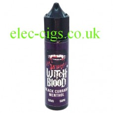 image shows a bottle of Blackcurrant Menthol 50 ML E-Liquid by Witch Blood