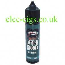 image shows a bottle of Menthol 50 ML E-Liquid by Witch Blood