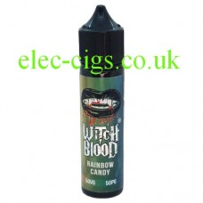 image shows a bottle of Rainbow Candy 50 ML E-Liquid by Witch Blood