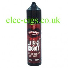 image shows a bottle of Strawberry Delight 50 ML E-Liquid by Witch Blood