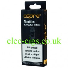 Image shows a 5 pack of Aspire Coils fore the Aspire Nautilus K3 and Mini Tanks