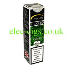 Image shows a box, mainly green in colour containing a bottle of Spearmint E-Liquid by iVapore