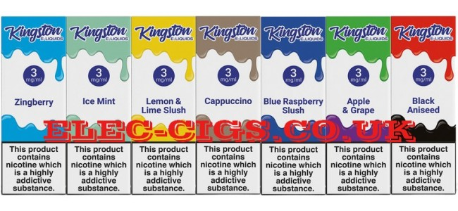 Image shows just seven of the flavours available in the Kingston 10 ML E-Liquids Range