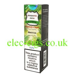 This shows the box containing Amazonia 10 ML Black Ice Flavour E-Liquid