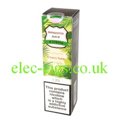 This shows the box containing Amazonia 10 ML Cherry Tunn Flavour E-Liquid