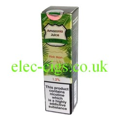 This shows the box containing Amazonia 10 ML Pink Lemonade Flavour E-Liquid