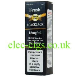 three pack of Black Jack e-liquid by ifresh, showing the three different strengths available