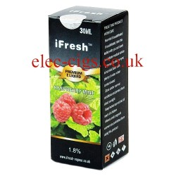 the box containg the Raspberry Mint 30 ML E-Liquid Bottle by iFresh