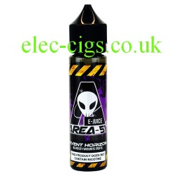 a bottle of 50 ML Event Horizon E-Liquid from Area 51