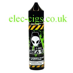 a bottle of 50 ML Lil'Green Man E-Liquid from Area 51