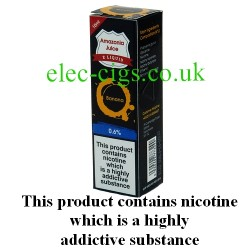 This shows the box containing Amazonia 10 ML Banana Flavour E-Liquid