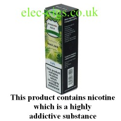 This shows the box containing Amazonia 10 ML Black Jack Flavour E-Liquid