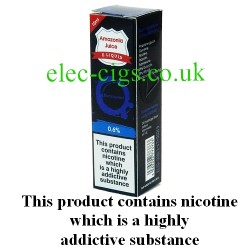 This shows the box containing Amazonia 10 ML Blackcurrant Flavour E-Liquid