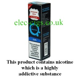 This shows the box containing Amazonia 10 ML Blue Ice Flavour E-Liquid