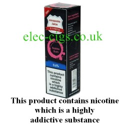This shows the box containing Amazonia 10 ML Bubblegum Flavour E-Liquid