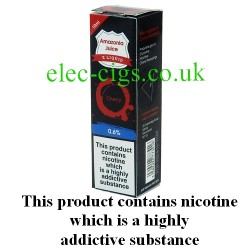 This shows the box containing Amazonia 10 ML Cherry Flavour E-Liquid