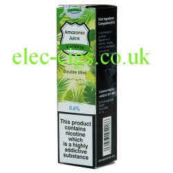This shows the box containing Amazonia 10 ML Double Mint Flavour E-Liquid