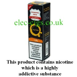 This shows the box containing Amazonia 10 ML Fruit Mix Flavour E-Liquid