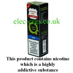 This shows the box containing Amazonia 10 ML Green Apple Flavour E-Liquid