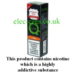This shows the box containing Amazonia 10 ML  Ice Mint Flavour E-Liquid
