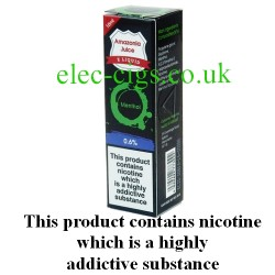 This shows the box containing Amazonia 10 ML Menthol Flavour E-Liquid