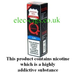 This shows the box containing Amazonia 10 ML Raspberry Flavour E-Liquid