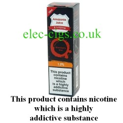 This shows the box containing Amazonia 10 ML Strawberry & Kiwi Flavour E-Liquid