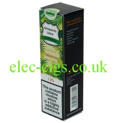 This shows the box containing Amazonia 10 ML Tobacco Flavour E-Liquid