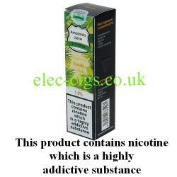 This shows the box containing Amazonia 10 ML Vanilla Flavour E-Liquid