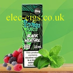 Black Menthol 20 MG Nicotine Salt E-Liquid from Boujee Juice