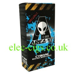 a bottle of 50 ML Cyborg E-Liquid from Area 51