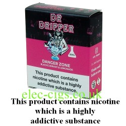 a box of Danger Zone E Juice from Dr Dripper Low Mint Series