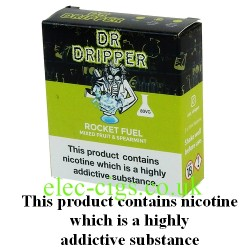 a box of Rocket Fuel E Juice from Dr Dripper Low Mint Series