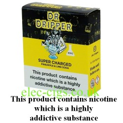 a box of Super Charged E Juice from Dr Dripper Low Mint Series