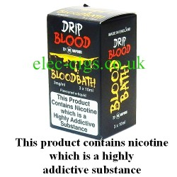 Blood Bath E-Juice from Drip Blood showing showing the outer packaging of this great e-juice