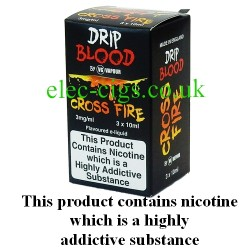 Cross Fire E-Juice from Drip Blood showing showing the outer packaging of this great e-juice