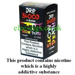 Slow Death E-Juice from Drip Blood showing showing the outer packaging of this great e-juice