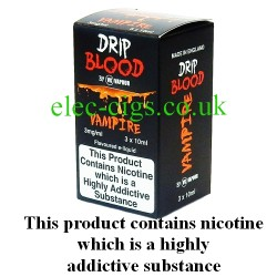 Vampire E-Juice from Drip Blood showing showing the outer packaging of this great e-juice