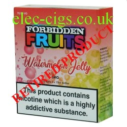 Watermelon Jelly 3 x 10 ML E-Liquid from Forbidden Fruits showing the box containing 3 bottles