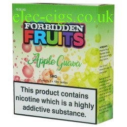 Apple Guava 3 x 10 ML E-Liquid from Forbidden Fruits showing the box containing 3 bottles