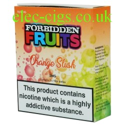 Orange Slush 3 x 10 ML E-Liquid from Forbidden Fruits showing the box containing 3 bottles