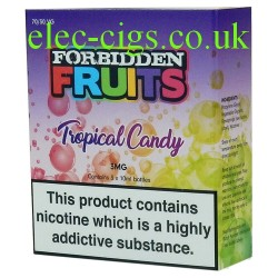 Tropical Candy 3 x 10 ML E-Liquid from Forbidden Fruits showing the box containing 3 bottles