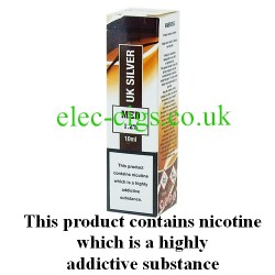 showing one box of HS VapourMX Premium E-Liquid: UK Silver on white background